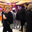 People line up for buying ice cream during Christmas shopping season time — ストックビデオ #61838501