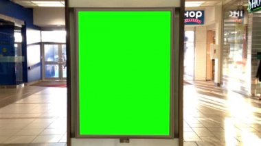 Green billboard for your ad inside Lougheed Mall in Burnaby BC Canada. — Stock Video
