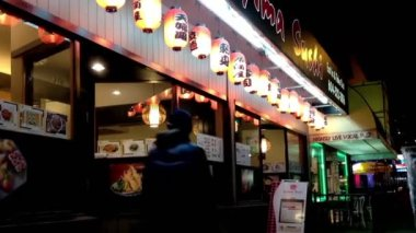 One side of shot Japaness lantern outside restaurant at night in New Westminster. — Stock Video