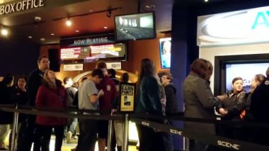 People line up for buying movie ticket at cinema — Wideo stockowe