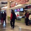 People line up for buying food at food court area inside Burnaby shopping mall — Stock Video #70619711