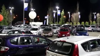 One side of Hyundai car dealership at night scene in Port Coquitlam BC Canada. — Stock Video