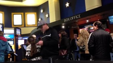 People line up for buying movie ticket at cinema — Stock Video