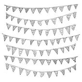 Hand drawn pen and ink style illustration of bunting — Vettoriale Stock
