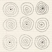 Circle pattern on a sheet of lined paper — Stock Vector