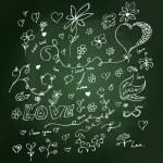 Sketchy love heart design on blackboard — Stock Vector #72753841