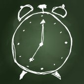 Croquis, dessin d'une horloge — Vecteur