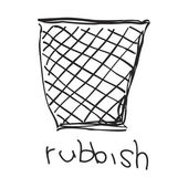 Simple doodle of a rubbish bin — Stock Vector