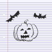 Simple doodle of a pumpkin and bats — Stock Vector