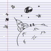 Doodle simple d'une fusée sur la lune — Vecteur