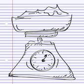 計量スケールの一連の単純な落書き — ストックベクタ
