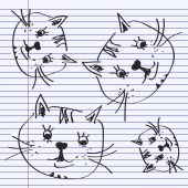 Enkla doodle av en katt — Stockvektor