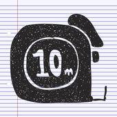 Doodle simple d'un ruban à mesurer — Vecteur