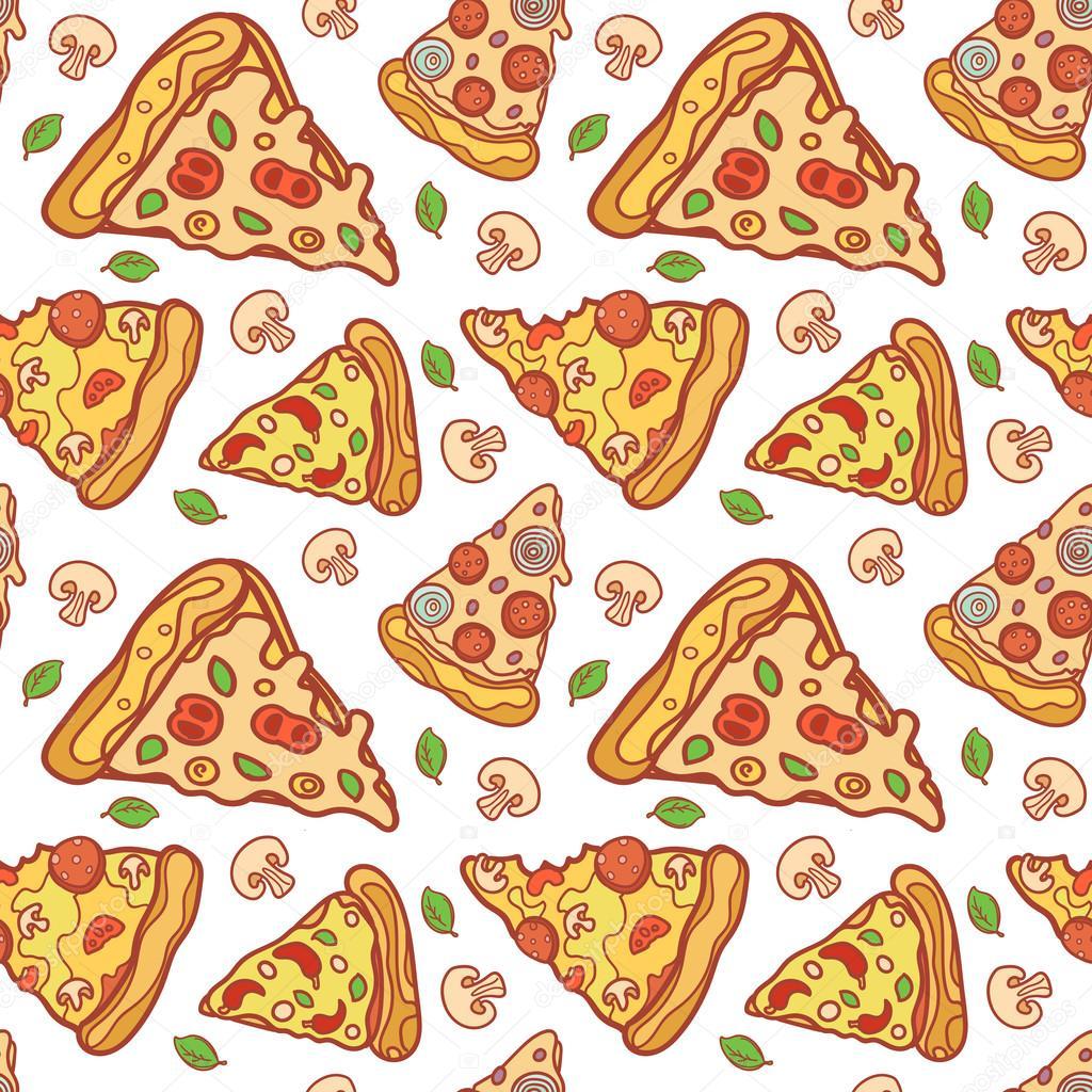 cartoon pizza pattern  u2014 stock vector  u00a9 real illusuion