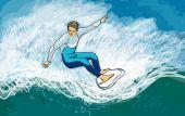 Surfer on the waves — Zdjęcie stockowe