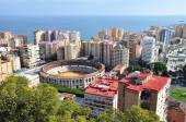 Plaza de Toros and harbor in Spanish Malaga — Stock Photo