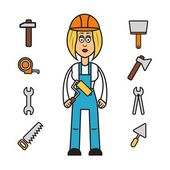 Builder woman — Stock Vector