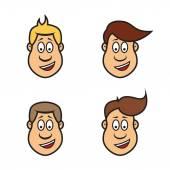 Cartoon man faces — Stock Vector