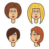 Cartoon woman faces — Stock Vector