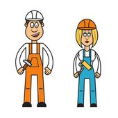 Builder woman and man — Stock Vector