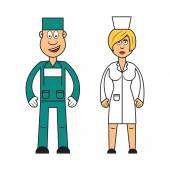 Female doctor and male surgeon — Stock Vector