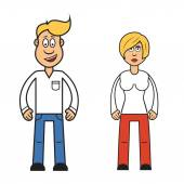Cartoon  woman and man — Stock Vector