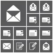 Etter, mailing, communacation icons — ストックベクタ