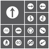 Set icon of road signs — Stock Vector