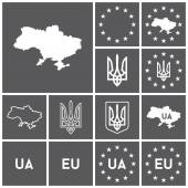 Ukraine, EU, European Union icons — Stock Vector