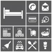 Hotel, rooming icons — Stock Vector