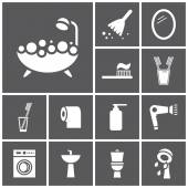 Bathroom, WC, restroom icons — Vettoriale Stock