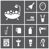 Bathroom, WC, restroom icons — Vector de stock