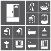 Bathroom, shower icons — Stockvektor