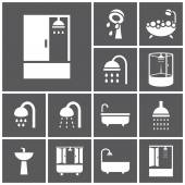 Bathroom, shower icons — Vettoriale Stock