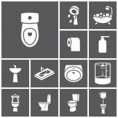 Bathroom, WC, restroom icons — Stock Vector