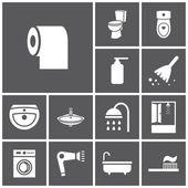 Bathroom, WC, restroom  icons — Stock Vector