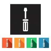 Screwdriver, manufacturing icons — Stock Vector
