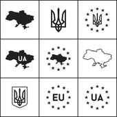 Ukraine, EU icons — Stock Vector