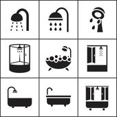 Bathroom, shower icons — Stok Vektör