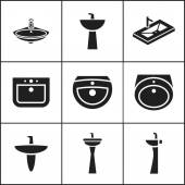 Sink, wash-basin icons — ストックベクタ