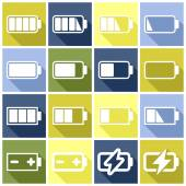 Charge level, batteries icons — Stock Vector