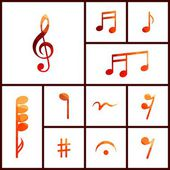 Icon set of musical notes — Stock Vector