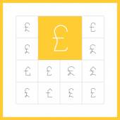 Thin line  pound sterling icons. — Stock Vector