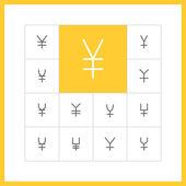 Thin line  yen icons. — Stock Vector