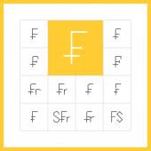 Thin line Swiss franc icons. — Stock Vector