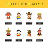 Peoples of world.Different race types — Stock Vector