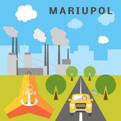 Cartoon  Mariupol landscape. — Stock Vector