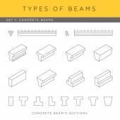 Set of concrete beams — Stock Vector