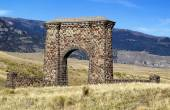 Stone Archway Entrance to Yellowstone National Park  — Stock Photo
