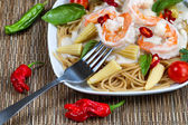 Gourmet creamy Shrimp Pasta  — Stock Photo